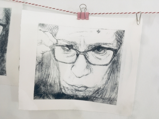 """""""Excuse me"""" (print); Drypoint etching on Tetrapak"""