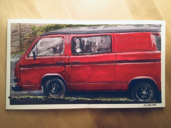 Tommy's van; Traditional gouache