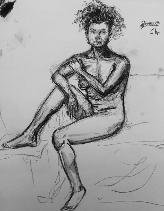Charlbury life drawing 2; Carbon pencil on newsprint