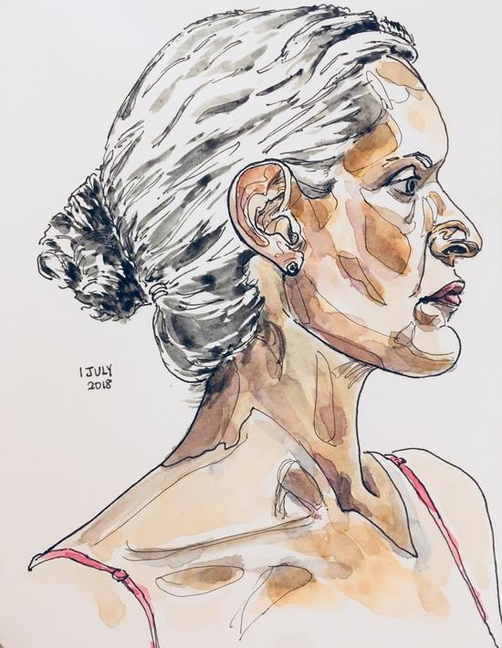 Sktchy tip: Break down the face into its unique shapes; Pen and watercolour