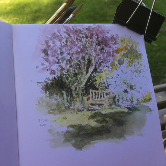 Plein air at Peter's parent's beautiful garden; Watercolour