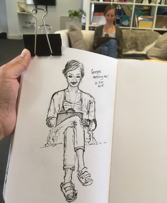 Lunch time sketch-off with Georgie; Sailor Fude pen