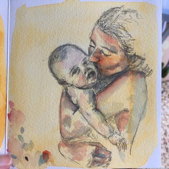 Baby and mum; Watercolour