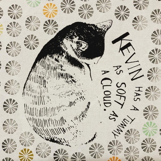 Kevin has a tummy as soft as a cloud; Screen printing on fabric.