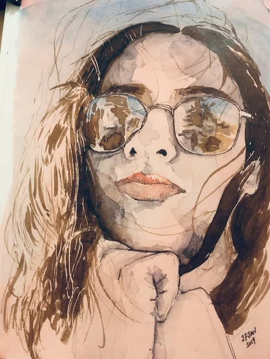 Sunglasses; Watercolour and walnut ink