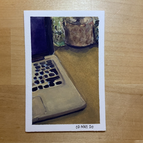Laptop; Gouache on Stonehenge mini pad