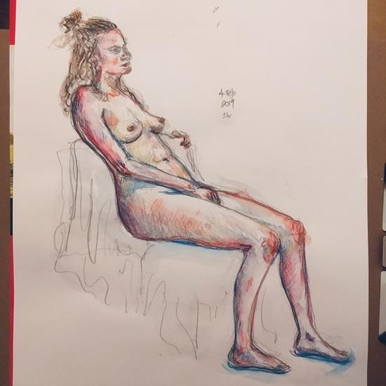 Charlbury life drawing; Inktense watercolour pencils