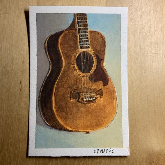 Faithful old guitar; Gouache on Stonehenge mini pad