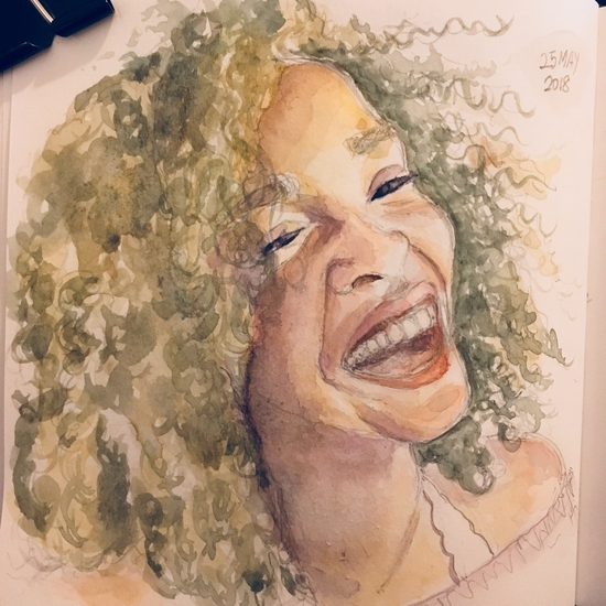 #May25 Hair, like the face, has a character; Watercolour