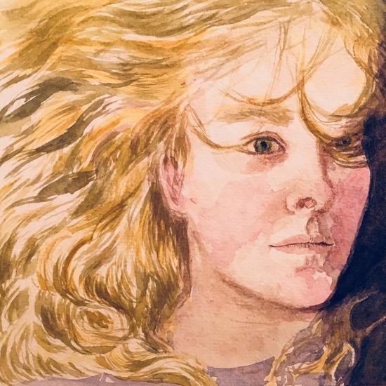 Yellow hair on Khadi; Watercolour on Khadi paper