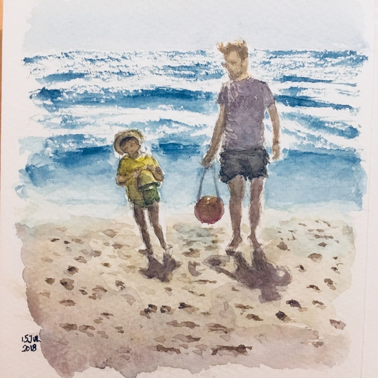 Peter & Owen fetching sea water; Watercolour on Bockingford paper