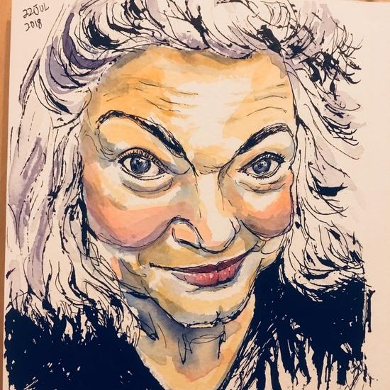 A portrait of Margriet Aasman; Watercolour and Pilot Parallel Pen