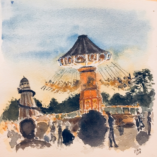 Fair ground at Wilderness Festival; Watercolour on Arches paper