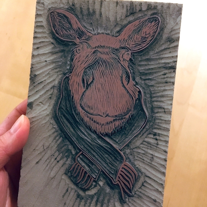 The final Christmas moose; Battleship gray lino block