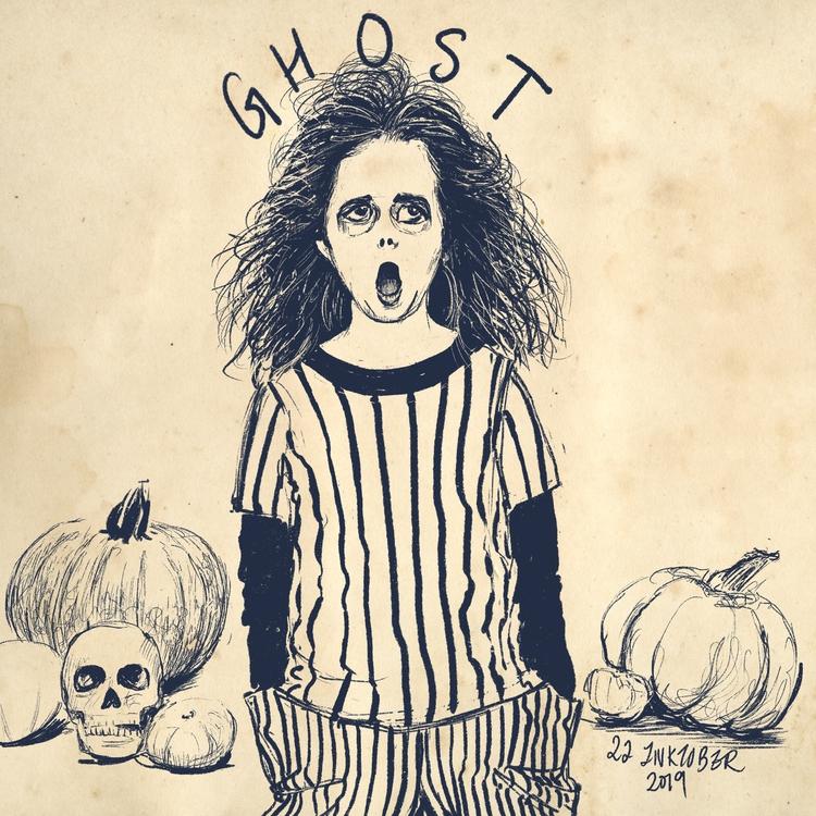 Inktober 2019: 22 Ghost; Dry ink brush on Procreate