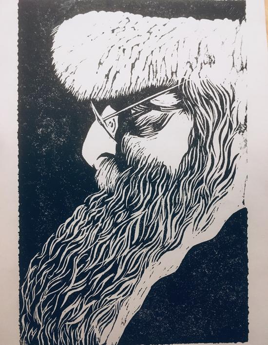 Father Christmas; Caligo safe wash relief ink on printer paper