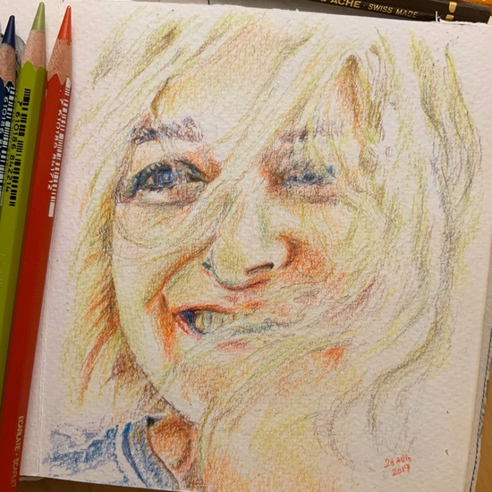 Sunshine girl; Colour pencils on Bockingford coldpress