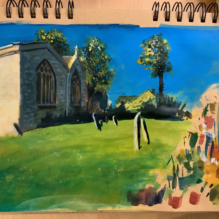 Charlbury St Mary's; FW Acrylic Ink on kraft paper