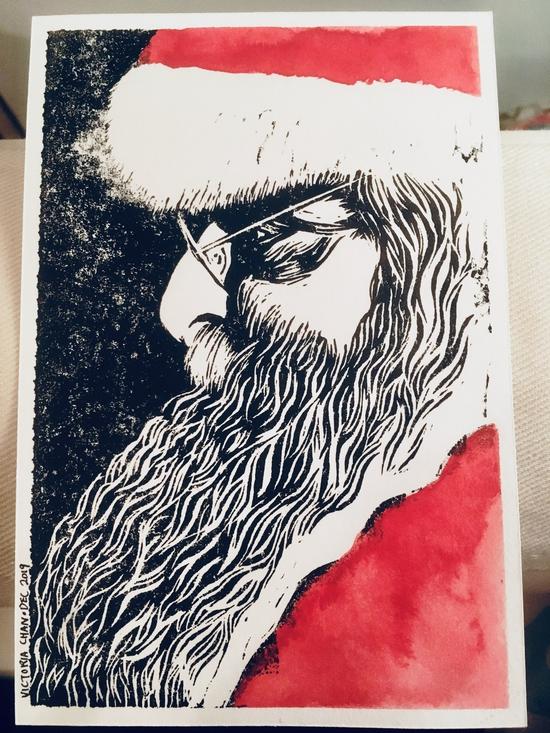 Postcard swap: Dec 2019; Handprinted linocut with watercolour on 300gsm paper