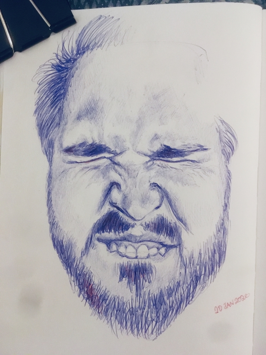 Scrunched; Ballpoint pen on paper