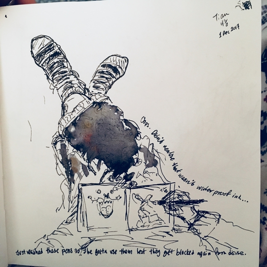 Sketching me sketching