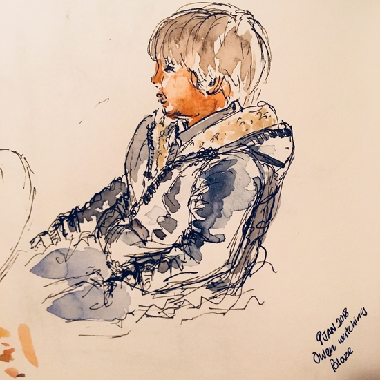 Owen watching Blaze; Watercolour