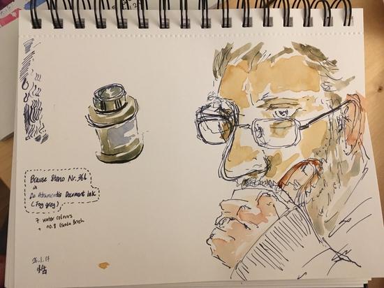 Peter and De Atramentis ink; Watercolour and De Atramentis gray ink