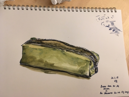 Pencil case; Watercolour and ink