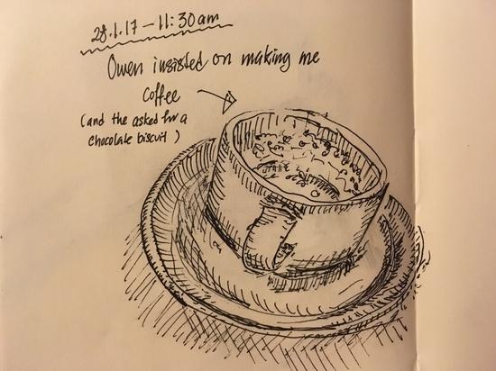 Coffee sketch; Platinum Carbon Pen