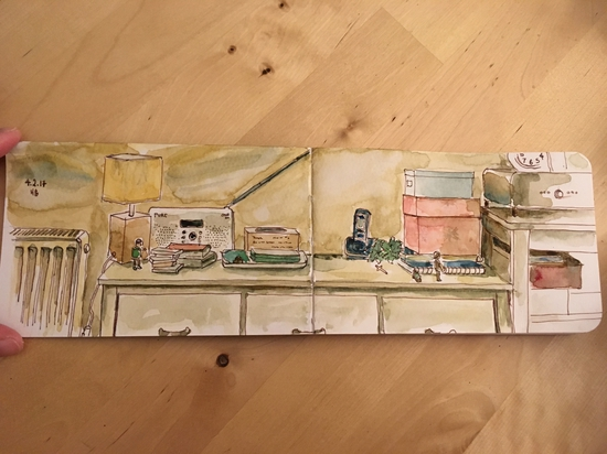 My living room; Watercolour and pen