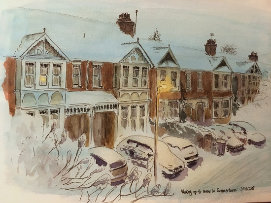 Summertown in first snow; Watercolour