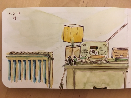 Living room; Watercolour and brown ink