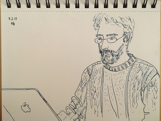Peter on his computer (again); Fountain pen with De Atramentis gray ink