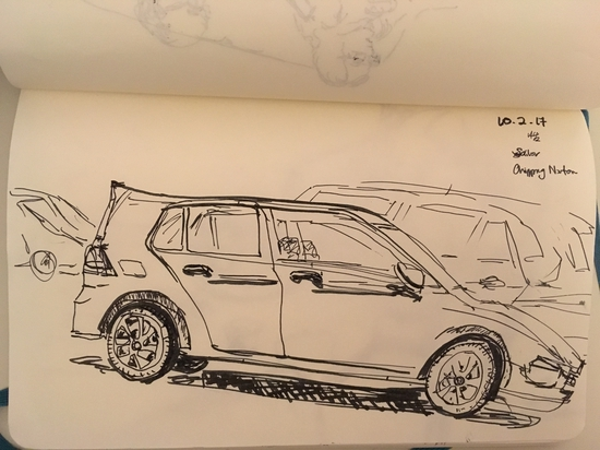 View of car park from Cafe Nero, Chipping Norton; Fountain pen