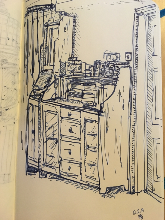 Dresser or cabinets; Fountain pen