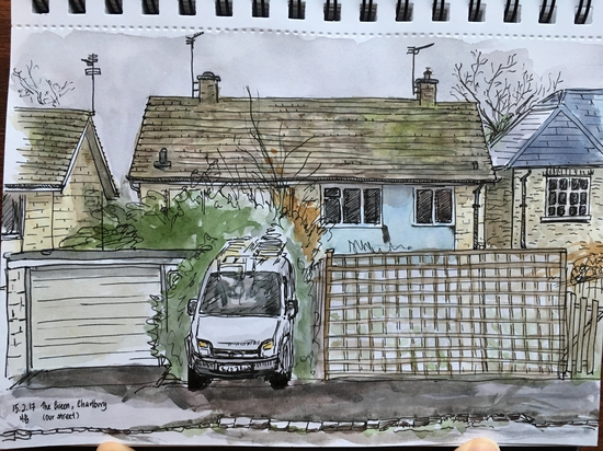 The house across the street; Watercolour and fountain pen