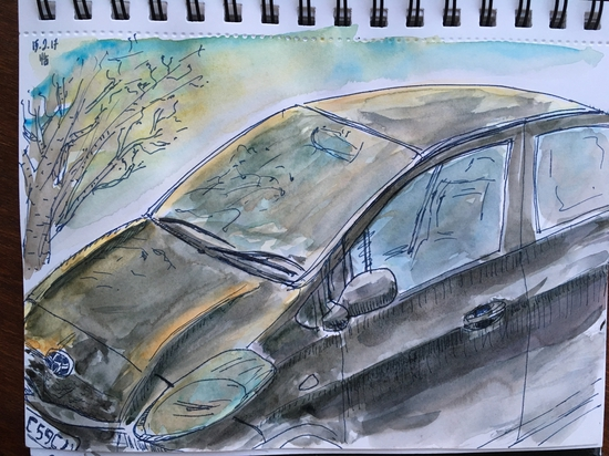 Our car; Watercolour and water soluble ink