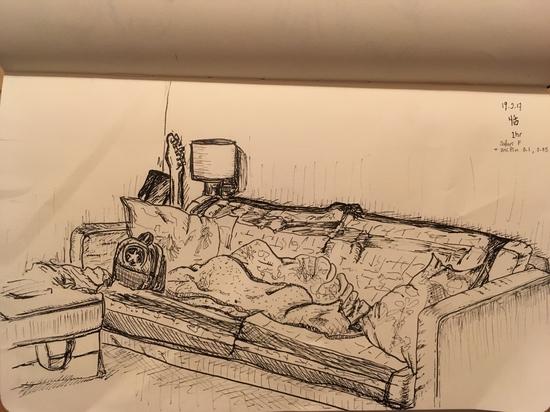 The sofa; Fineliner 0.05