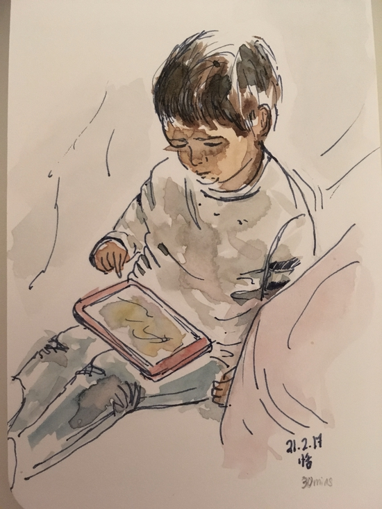 Owen and the iPad; Watercolour and pen