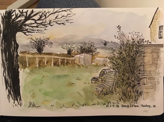 Banbury Hill Farm; Watercolour and fountain pen