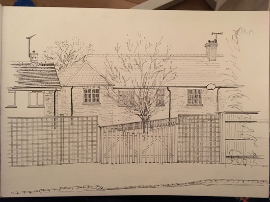 House across the street (with rulers); Fineliner pens and ruler