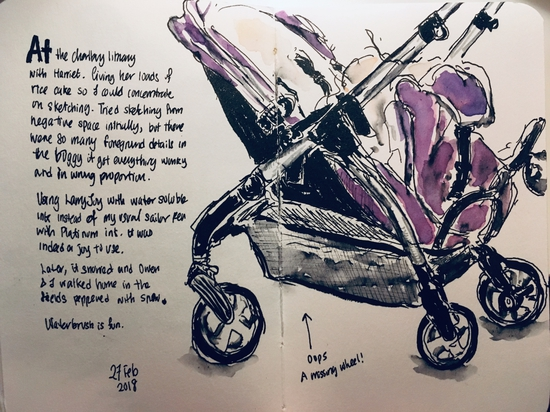 Our buggy; Watercolour and Lamy Safari with water soluble ink
