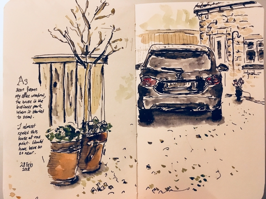 Outside my office window; Watercolour and water soluble ink