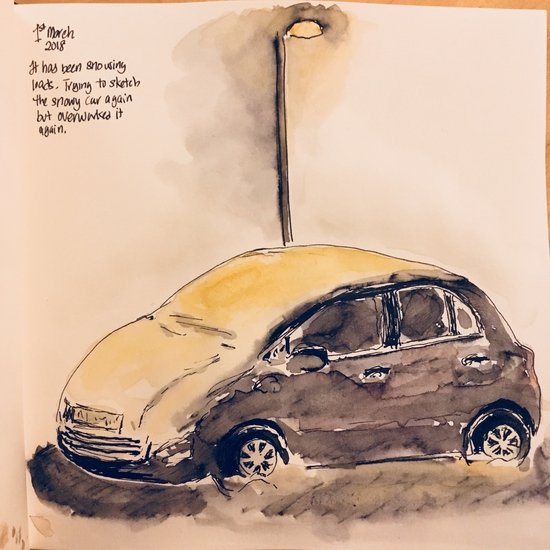 Our car in the snow; Watercolour and Lamy Safari pen with water soluble ink