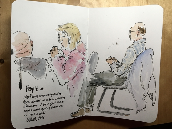 People waiting at Charlbury library cafe; Watercolour and fountain pen