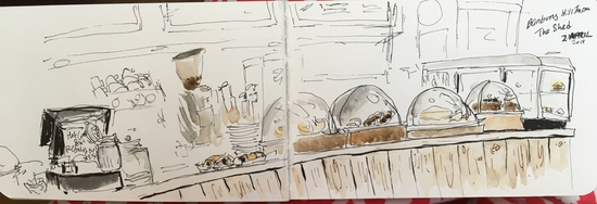 Food counter at The Shed; Watercolour and fountain pen