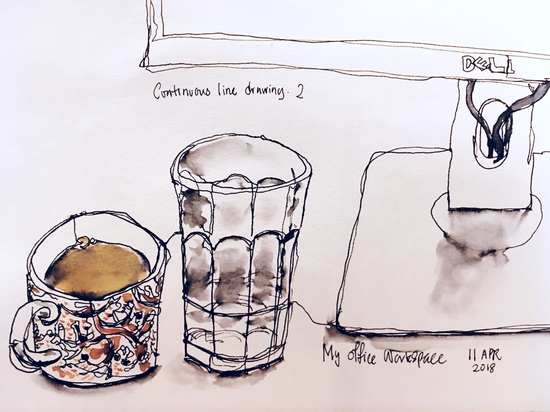 My office desk in continuous line; Watercolour and watersoluble pen