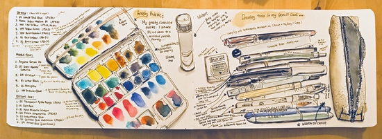 Inside my pencil case and paint box; Watercolour and pen