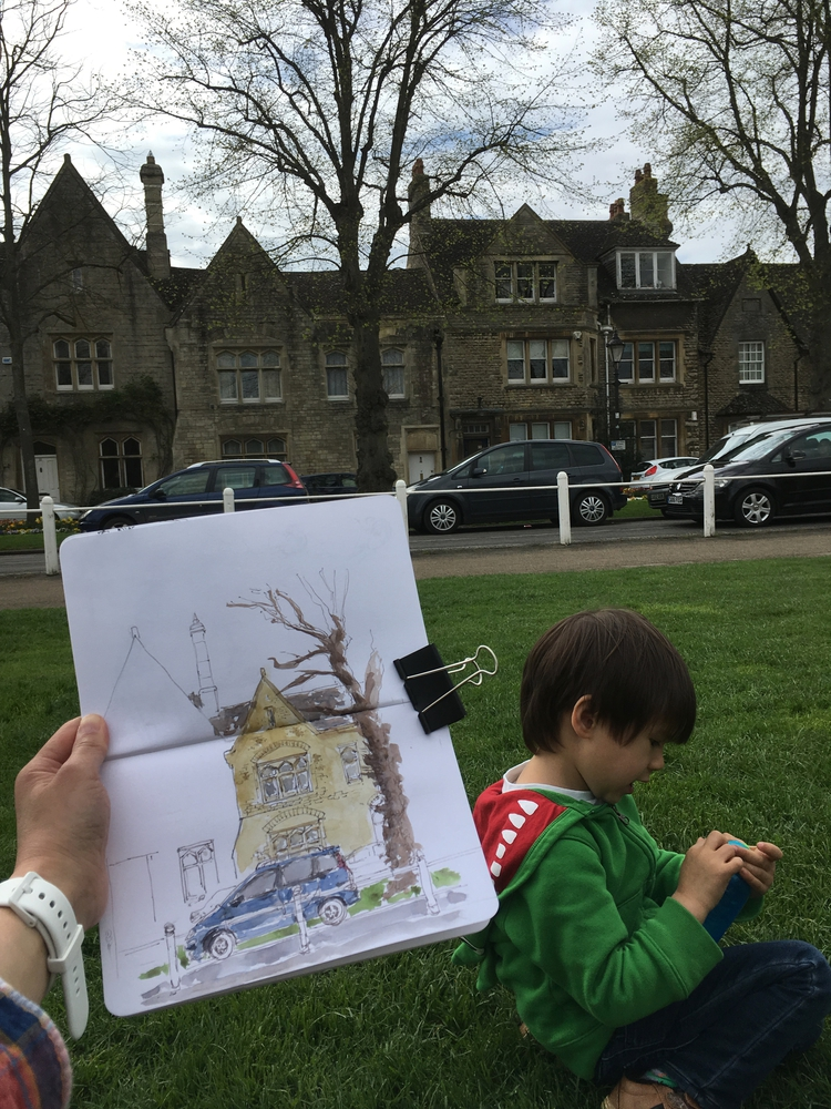 Sketching with Owen at Witney Church Green