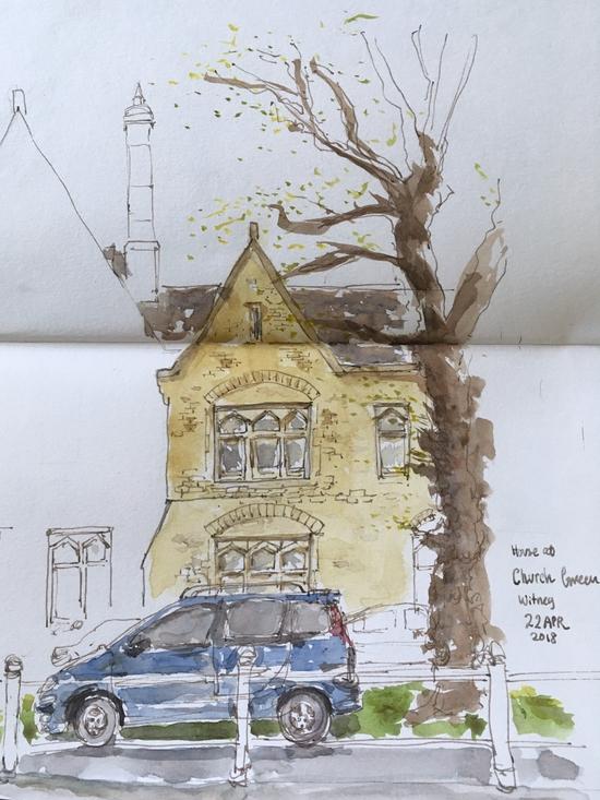 Witney Church Green; Watercolour and fountain pen on Stillman & Birn  Alpha sketchbook